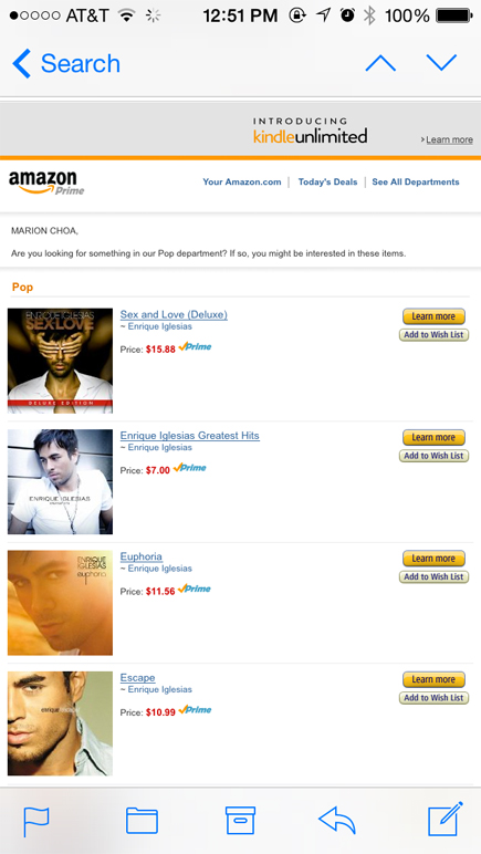 amazon suggestions - enrique iglesias