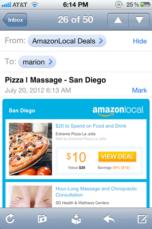 amazon local deals pizza massage
