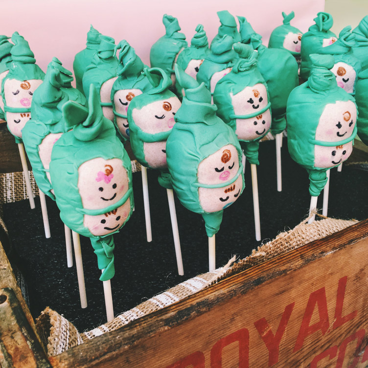 baby shower twins peas in a pod cake pops