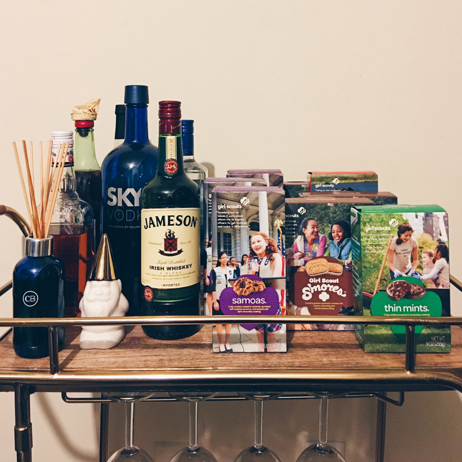 bar cart girl scout cookies