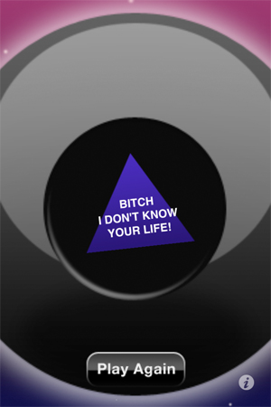 bitch i don't know your life - magic 8 ball