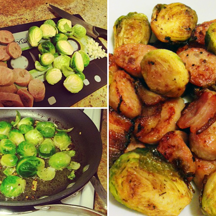brussels sprouts bacon chicken apple sausage