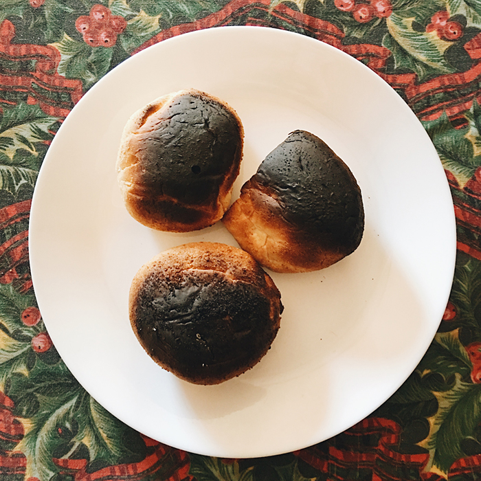 burnt pan de sal bread rolls