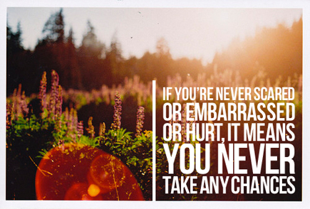 if you're never scared or embarrassed or hurt, it means you never take any chances - julia sorel
