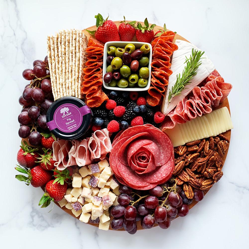 charcuterie board - salami rose