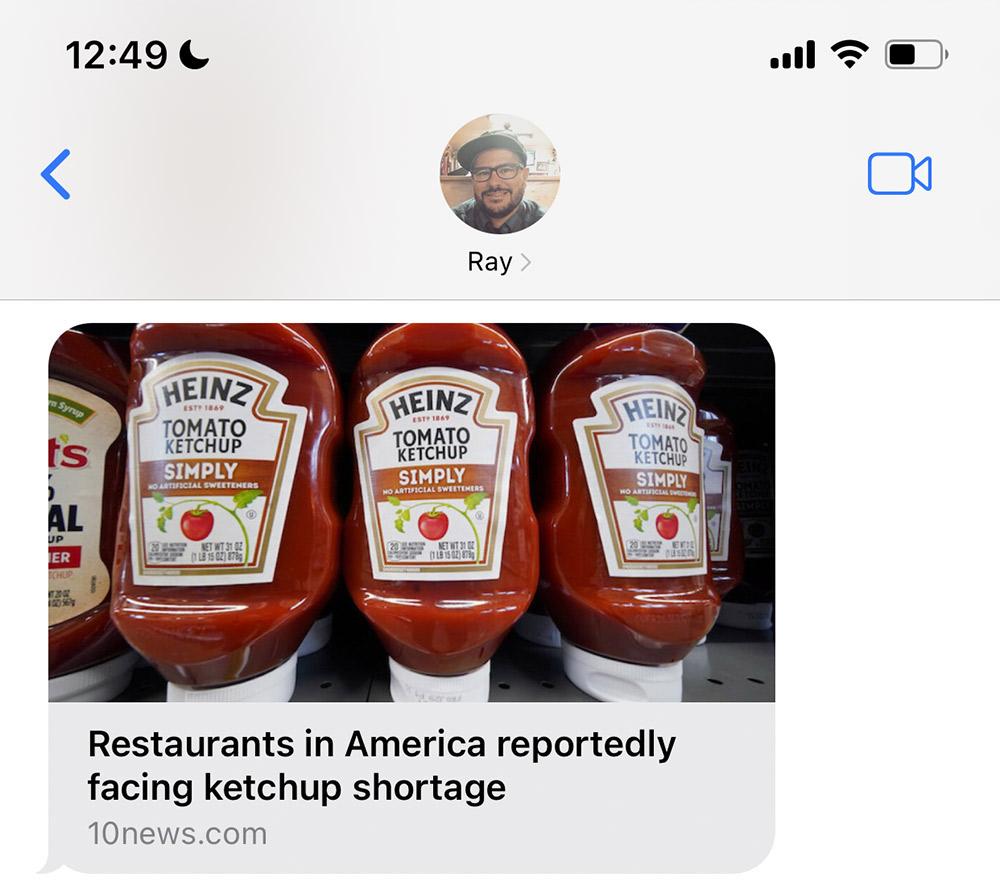 chat ray ketchup shortage