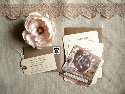 vintage custom wedding invitation