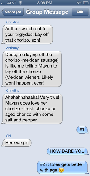 chorizo text message