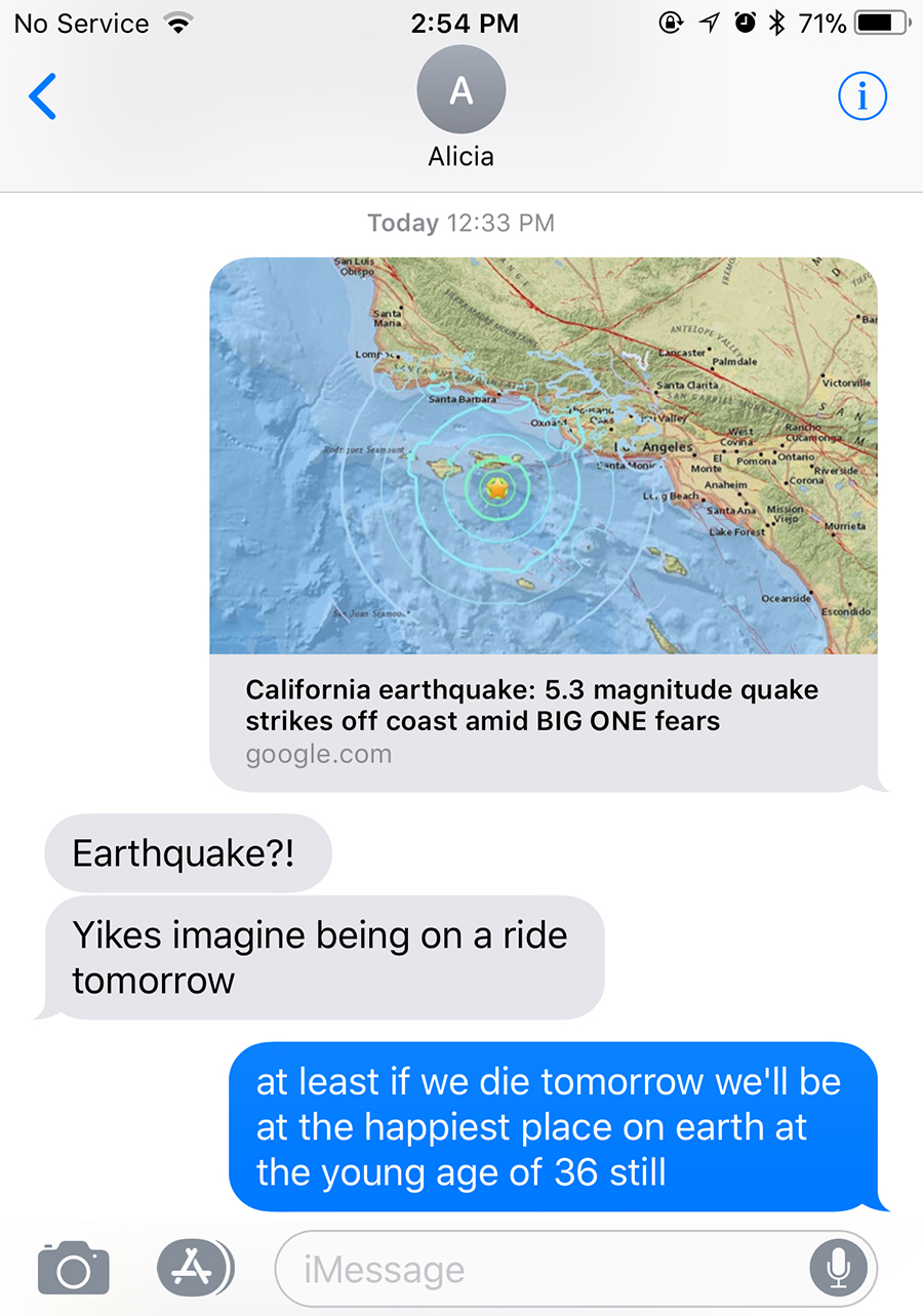 disneyland earthquake chat