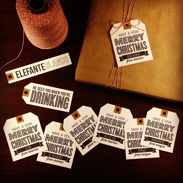 DIY christmas gift tags - typography - kraft paper - baker's twine