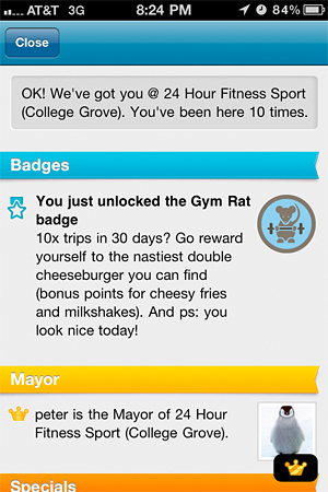 foursquare badge - gym rat