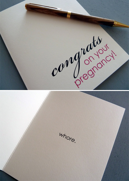 funny congrats on your pregnancy whore card