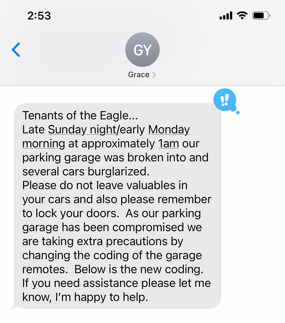 garage break in text