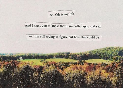 so this is my life and i want you to know that i am both happy and sad and i'm still trying to figure out how that could be - the perks of being a wallflower