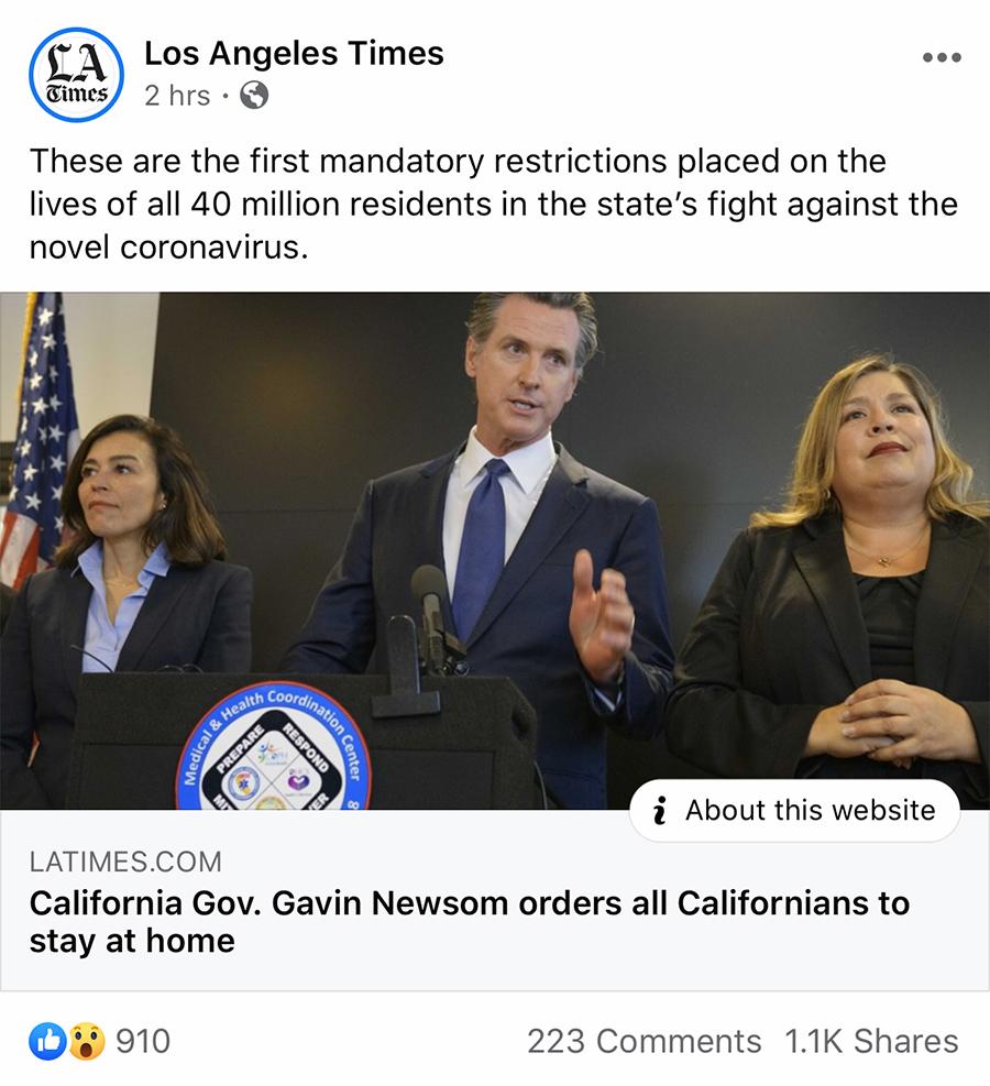 la times newsom lockdown coronavirus