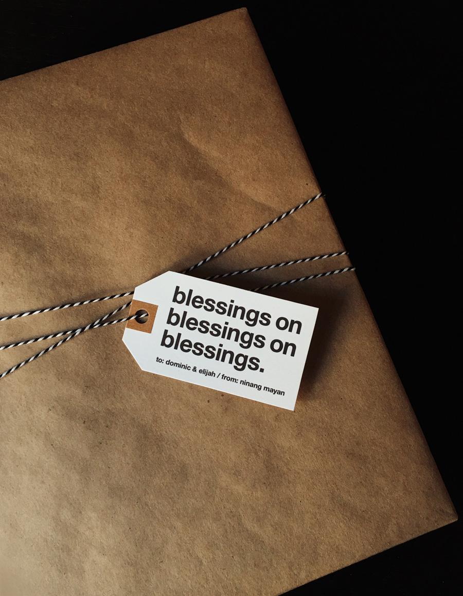 dominic and elijah - lapel twins - baptism christening dedication gift tag