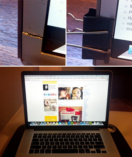 macbook pro with retina display - cracked bezel - binder clips