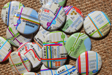 nyc transit maps magnets buttons pins