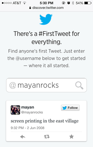 mayanrocks first tweet ever
