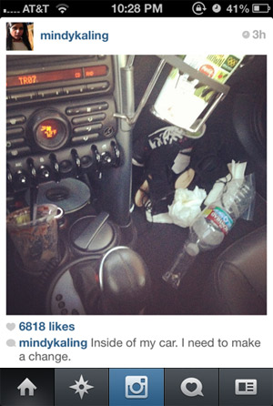 mindy kaling instagram dirty car