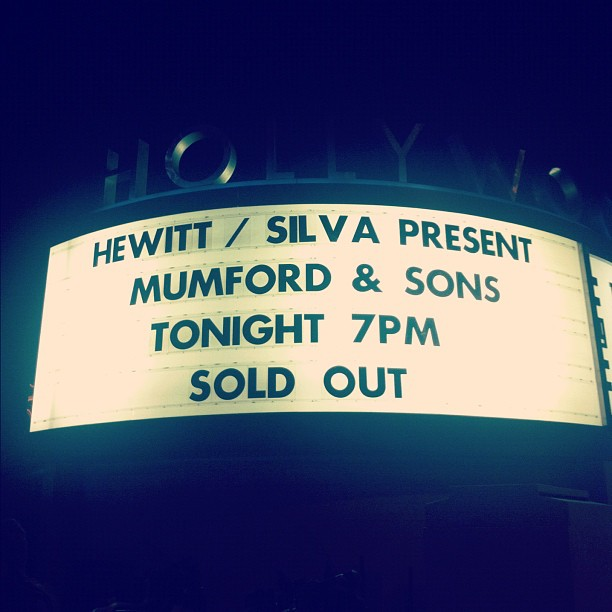 mumford and sons hollywood bowl sold out marquee