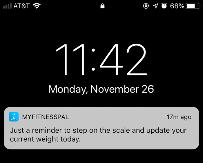 my fitness pal reminder