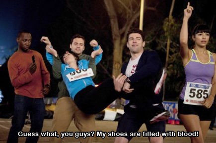 new girl - guess what you guys my shoes are filled with blood