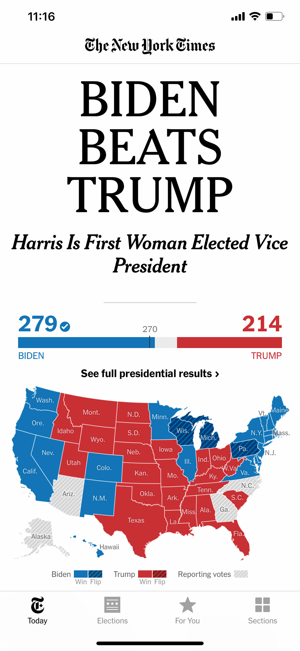 new york times headline - biden beats trump