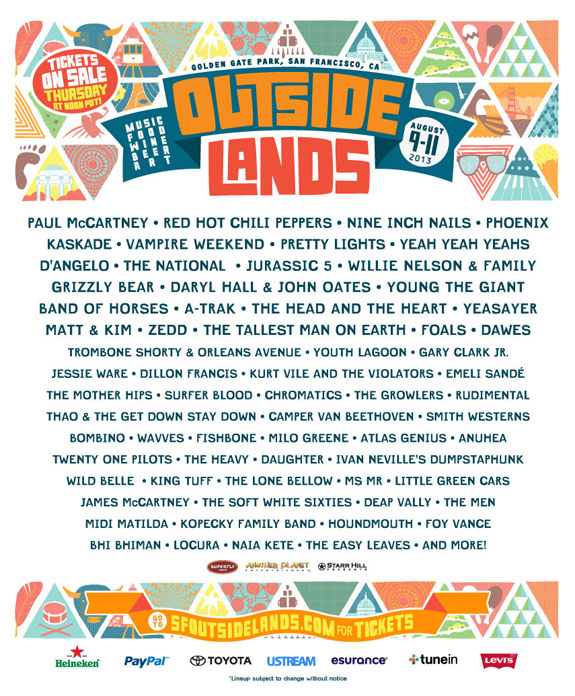 outside lands 2013 lineup