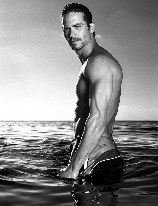 paul walker half naked in the ocean