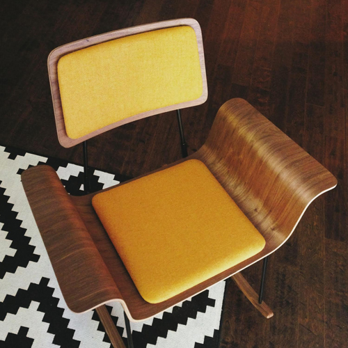 DIY reupholstered mid-century modern chair harris tweed sunshine yellow