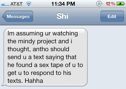 sex tape text message the mindy project