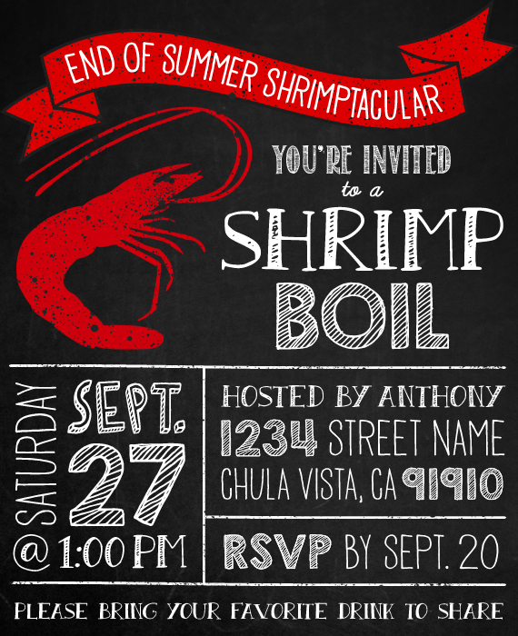 shrimp boil invitation - seafood crab crawfish chalkboard