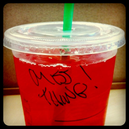 starbucks name - miss thing