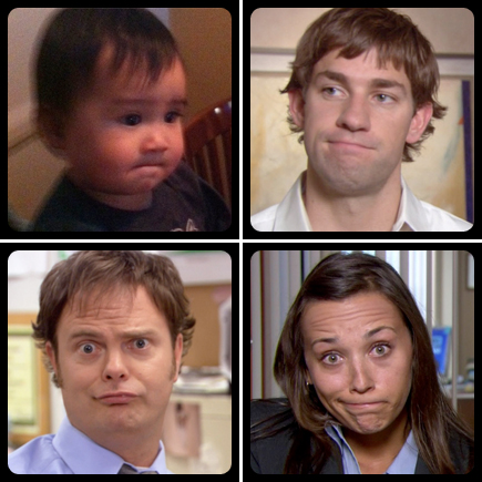 the office jim halpert face - karen dwight imitation