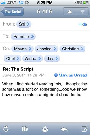 the script font