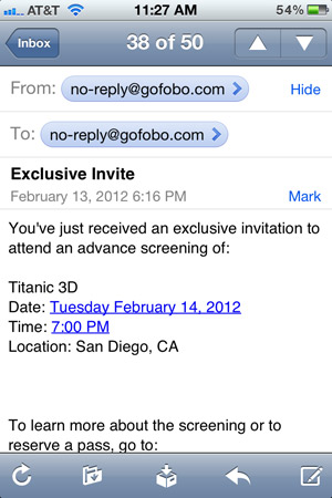 titanic 3d screening