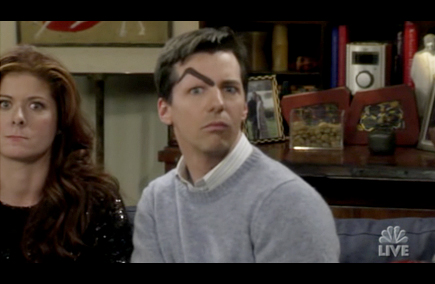 will and grace - alive and schticking - jack eyebrow